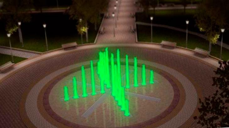 Сквер с фонтанами в Краснодаре