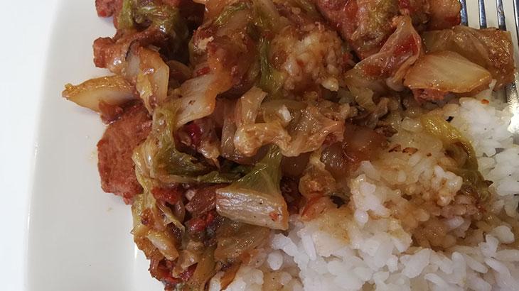 Свинина жаренная с кимчи, на гарнир рис