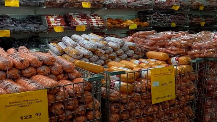 Отдел колбас  в супермаркете Светофор