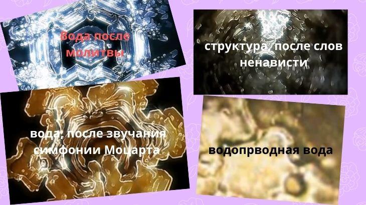Структура воды от разных воздействий на нее